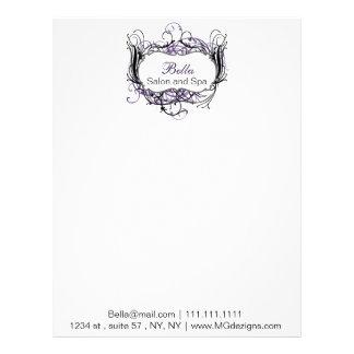 purple, black and white Chic Business letterheads Letterhead Template