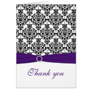 Purple, Black, and White Damask Thank You Card