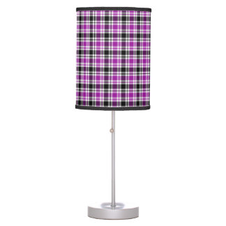 Purple, Black and White Plaid Table Lamp