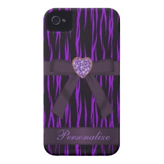 Purple & Black Animal Print Bow & Bling iPhone 4 Case-Mate iPhone 4 Case