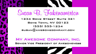 Leopard business cards business card printing zazzle ca purple black animal print zebra and leopard business card colourmoves