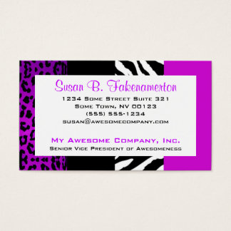 Purple & Black Animal Print Zebra and Leopard Business Card