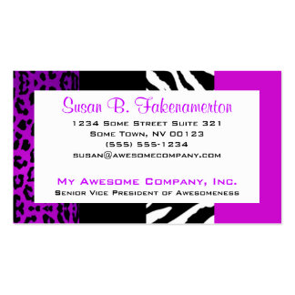 Purple & Black Animal Print Zebra and Leopard Business Cards