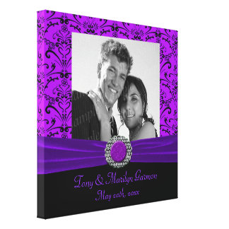 Purple & Black Baroque Jewel Add A Photo Frame Up Gallery Wrapped Canvas