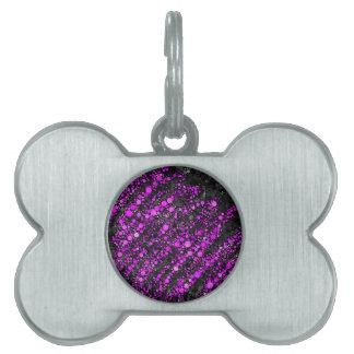 Purple Black Bling Pattern Pet Tags