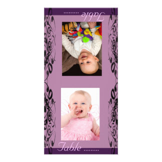Purple & Black Bride & Groom Photo Table Card Custom Photo Card