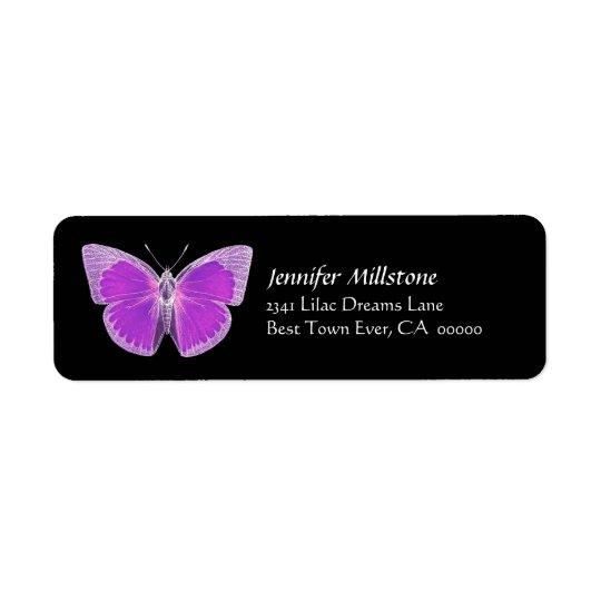 Purple & Black Butterfly Address Label