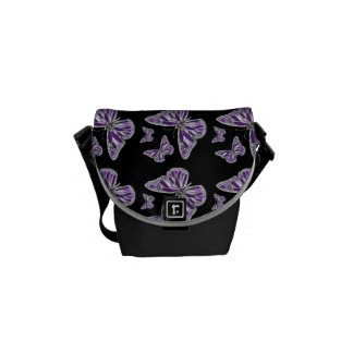 Purple black butterfly pattern courier bag