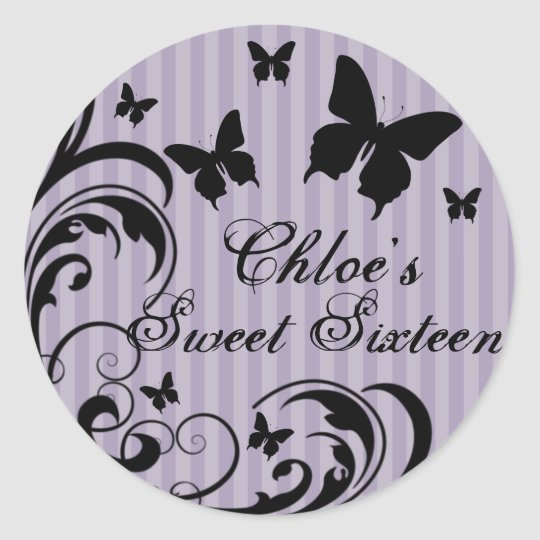 Purple & Black Butterfly Sweet 16 Sticker