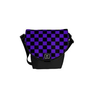 PURPLE & BLACK CHECKERBOARD DESIGN MESSENGER BAG