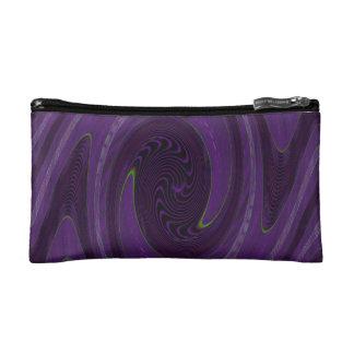 purple black circular abstract makeup bag
