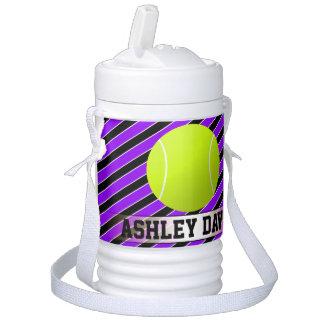 Purple & Black Custom Tennis Player or Team Name Drinks Cooler