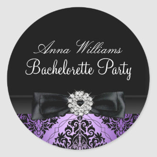 Purple & Black Damask Bachelorette Party Sticker