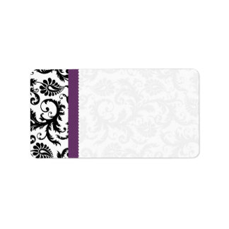 Purple & Black Damask Dots Shipping Label