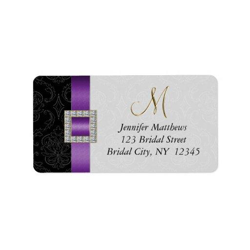 Purple Black Damask Gold Initial Wedding RSVP Labels