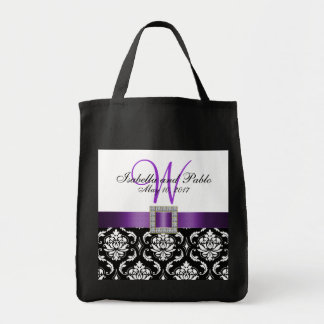 Purple, Black Damask Personalized Wedding Tote Bag
