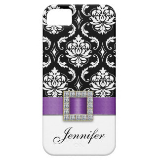 Purple Black Damask Printed Ribbon Jewel Case For The iPhone 5