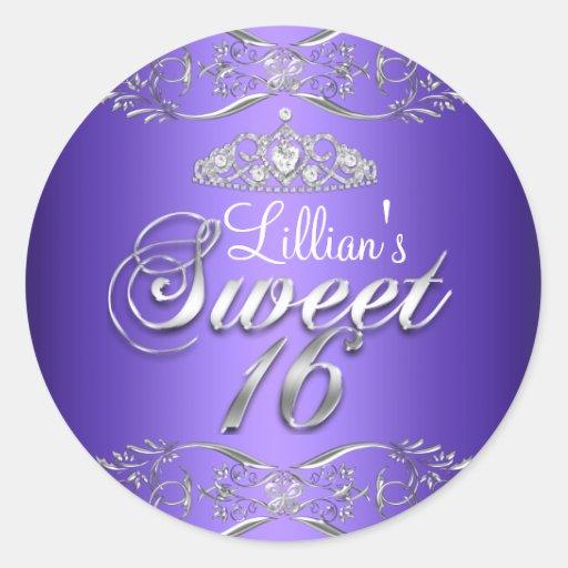 Purple Black Damask & Tiara Sweet 16 Sticker