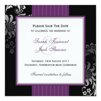 Purple & Black Damask Wedding Save the Date Card