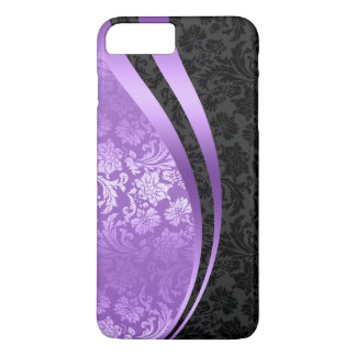 Purple & black damasks dynamic Wavy Stripes iPhone 8 Plus/7 Plus Case