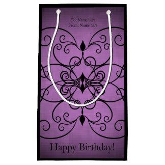 Purple black design small gift bag