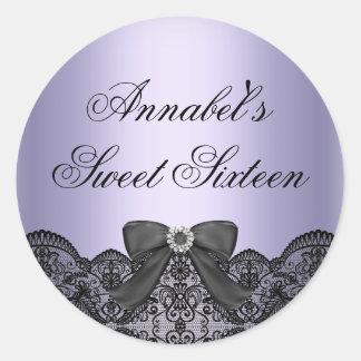 Purple & Black Diamond Lace Sweet 16 Sticker