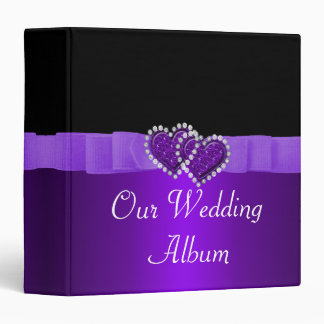 Purple & Black Diamond Locking Hearts Wedding Binders