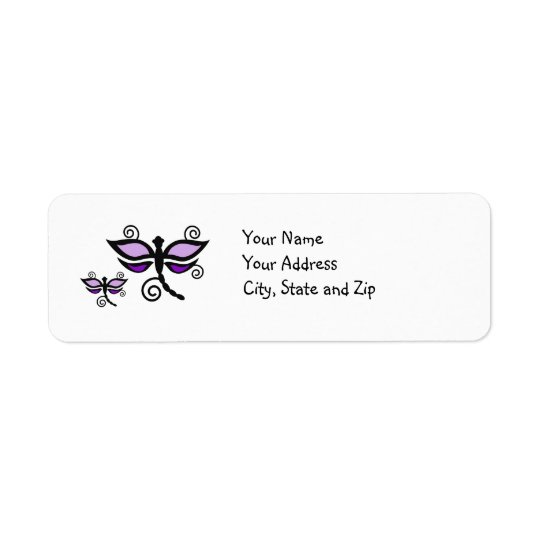 Purple & black Dragonflies on yellow address label