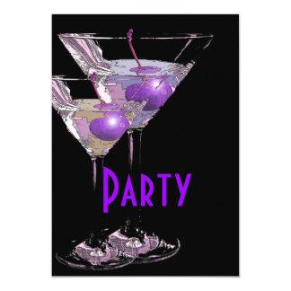 "Purple black elegant party 5"" x 7"" invitation card"