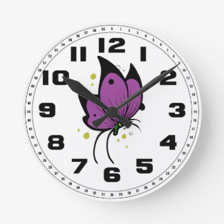 Purple Black Filled Freckled Butterfly Clock