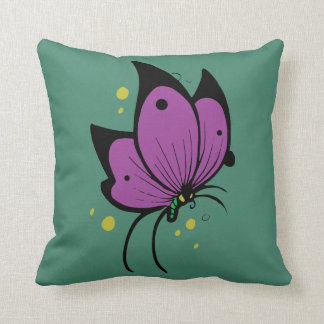 Purple Black Flecked Butterfly on Green Throw Pillow