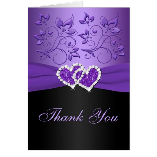 Purple Black Floral Joined Hearts Thank You Card