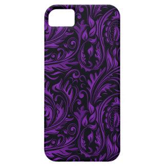 Purple & Black Floral Paisley Swirls iPhone 5 Case