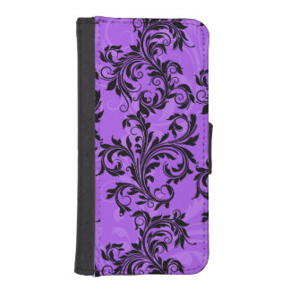 Purple Black Floral Scroll iPhone 5/5s Wallet Case