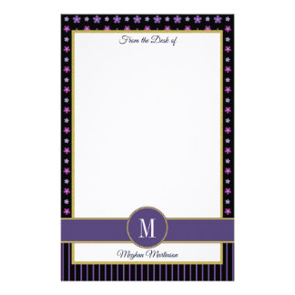 Purple Black Floral Stripes Gold Monogram Name Stationery