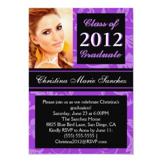 """Purple Black Floral Swirl 2012 Graduate Invite 5"""" X 7"""" Invitation Card"""
