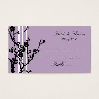 Purple Black Floral Wedding Place Setting Cards