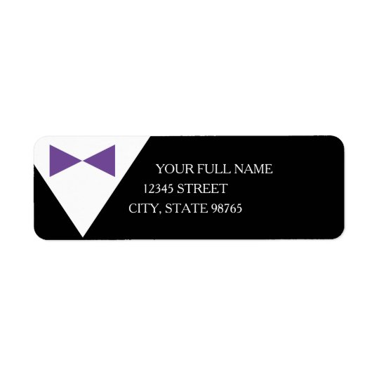 Purple & Black Formal Tux Mailing Address Labels