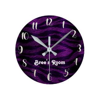 Purple & Black Funky Zebra Print Personalized Round Clock