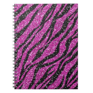 Purple Black Glitter Zebra Print Spiral Notebook