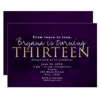 Purple Black & Gold 13 THIRTEEN 13th Party Card