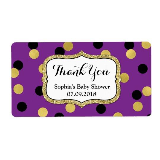 Purple  Black Gold Confetti Baby Shower Labels