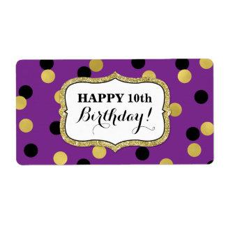 Purple Black Gold Confetti Birthday Labels