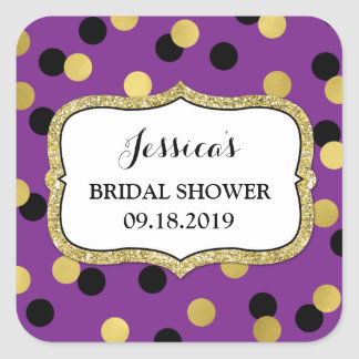 Purple Black Gold Dots Bridal Shower Favor Tag