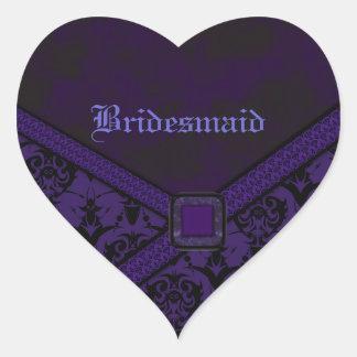 Purple & Black Goth Lace Wedding Heart Sticker