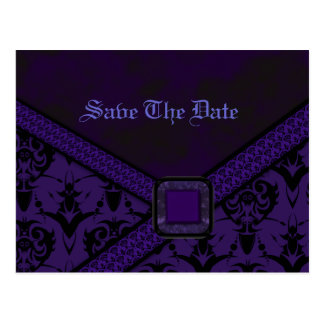 Purple & Black Goth Lace Wedding Postcard