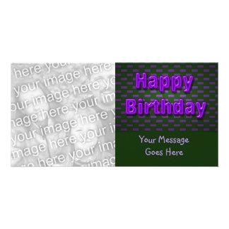 purple black happy birthday personalized photo card