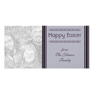 purple black Happy Easter Photo Card