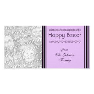 purple black Happy Easter Photo Greeting Card
