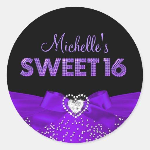 Purple & Black Heart Bow Sweet Sixteen Sticker